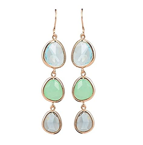 SunIfSnow Girls Exquisite Three Vertical Drop Charms Colorful Crystal Stone Linked Dangle Earrings Green