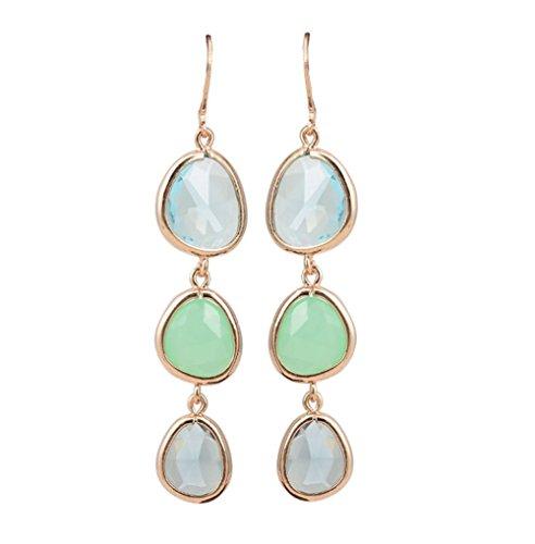 SunIfSnow - Deliziosi orecchini a pendente verticale con tre gocce, cristalli colorati, Lega, colore: Green, cod. 2016051109