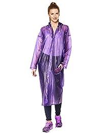 Malvina Women's Rain Coat Rain Poncho with with Hoods and Sleeves, One-Piece Raincoat 100% Waterproof Portable Travel Raincoat Traveling|Camping|Hiking|Traveling|Fishing (purpal Raincoat)