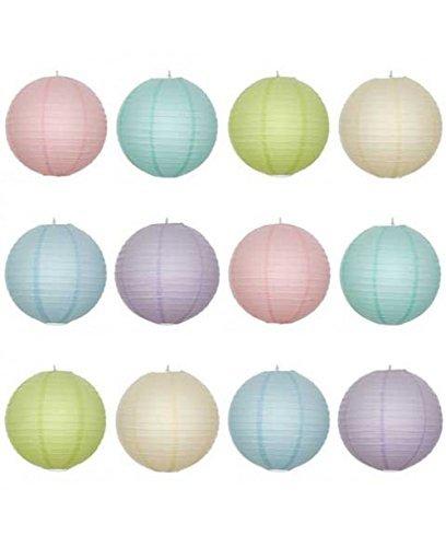 30,5x 30,5cm Lampion, rund, mit Draht-Rippung Pastell Farbe Pack (Verkäufer für andere Farbkombinationen kontaktieren)