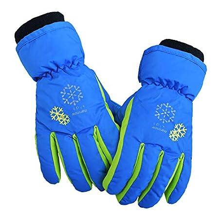 Avril Tian Kinder-Winter-Ski-Handschuhe, wasserdicht, warm, bunt, für Jungen und Mädchen (S, Gelb)