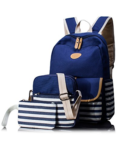 leaper-3-in-1-cute-thickened-canvas-school-backpack-shoulder-bag-pencil-case-blue
