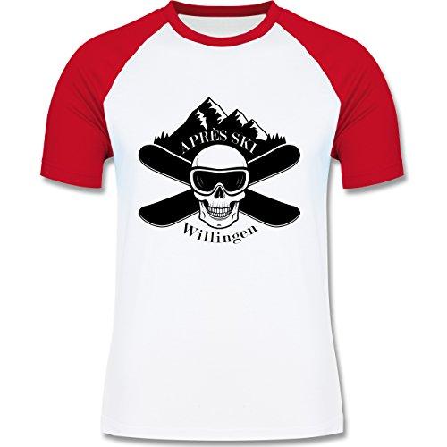 Après Ski - Apres Ski Willingen Totenkopf - zweifarbiges Baseballshirt für Männer Weiß/Rot