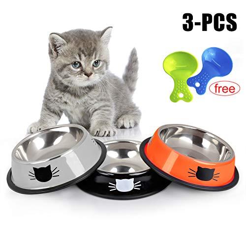 3 STÜCKE Katzennapf Set, Pet Feeder Bowl Cat Edelstahl rutschfest Katzen Napf für Katzen, Welpe, Kaninchen