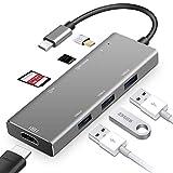 7-in-1 USB HUB USB C bis HDMI RJ4 mit Typ C Power Delivery 4K Video HD SD/TF Card Reader USB 3.0 HUB für MacBook Pro Type C Hub