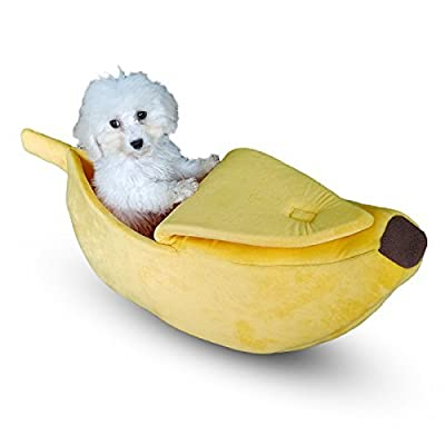 TOOGOO Cute Pet Dog Cat Bed Banana Shape Fluffy Warm Soft Plush Home Bed (S) from TOOGOO