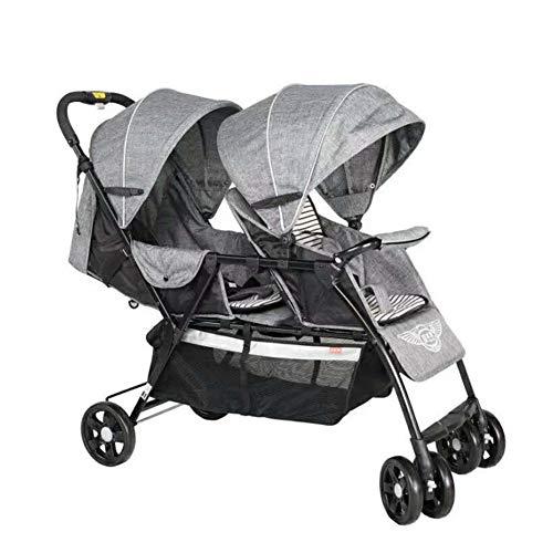 XUE Poussette de bébé Twin, Poussette Avant et arrière léger Pliage avec système de sécurité 5 Points et Multi-positon siège inclinable allongée Facile Une Main pli