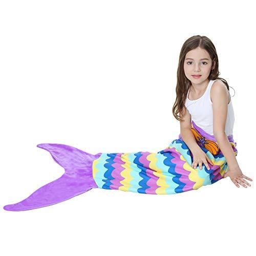 Aishankra Girls Mermaid Tail Blanket Doppelseitige Weiche Warme Komfort Polarfleece Für Alle Jahreszeiten Schlafsack Decke Outdoor Reise Geburtstag Kleinkind Kinder,F