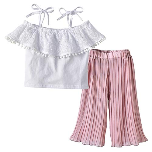 LENGIMA Little Kid Baby Girl Lace Strap Schulterfrei Top + Plissee Bell Bottom Pants 2St (Color : Pink, Size : 90)