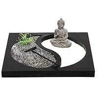 Carousel Home and Gifts Miniature Desktop Stress Relief Meditation Yin Yang Buddha Zen Garden Set
