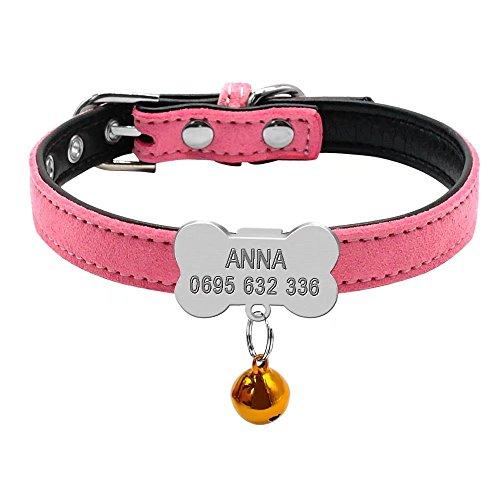 Collar acolchado de piel de ante Berry, personalizable, para mascotas, con hueso antideslizante, grabado de identificación de etiqueta, perfecto para cachorros pequeños perros y gatos