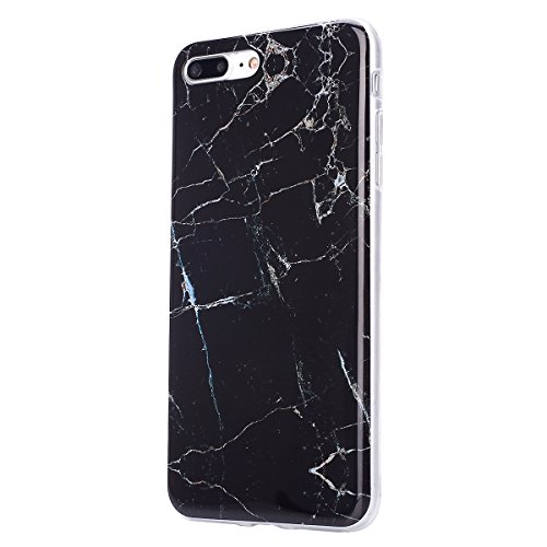 Coque Housse Etui pour iPhone 7 Plus/8 Plus, iPhone 8 Plus Coque en Silicone Cerfs flocon de neige de Noël Motif Etui, iPhone 7 Plus Silicone Coque Housse Transparent Etui Gel Slim Case Soft Gel Cover Marbre-Noir
