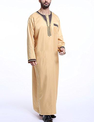 YCHENG Muslim Abaya Dubai Muslimisch Islamisch Arab Indien Türkischl Festlich Kaftan Robe Maxikleid für Männer Gelb 2
