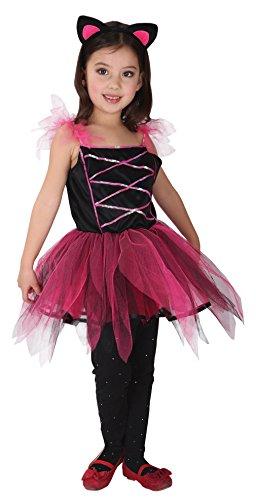 Set Mädchen Tierkostüm Karneval Fasching Halloween Rot Körpergröße 130-140cm (Rote Katze Halloween Kostüm)