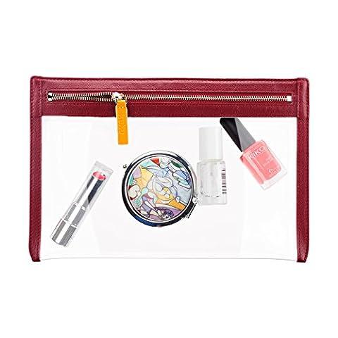 Echtleder Kosmetiktasche - Schminktasche für Handtasche - Transparente Makeup Tasche - (Weinrot)
