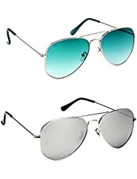Y&S Combo Offer Pack Of UV Protected Stylish Branded Aviator Sunglasses For Men Women Boys & Girls ( Green Gradient...
