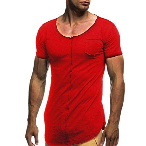 Herren Kausal T-Shirt, URSING Männer Oversize T-Shirt Rundhals Basic Shirt Sommer Top Klassisch Crew Neck Slim Fit Oberteile Casual Kurzärmelige Hemdbluse Shirtbluse Freizeithemd (M, Rot) (Klassischer Jeans Ein-knopf)