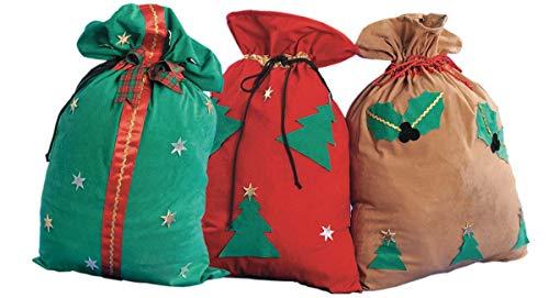 Chiber Disfraces Juego 3 Sacos Navidad Santa