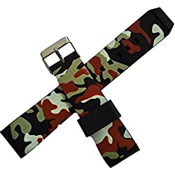New 22mm Curved Rubber Strap Watch Band Black Camouflage Military Army Buckle