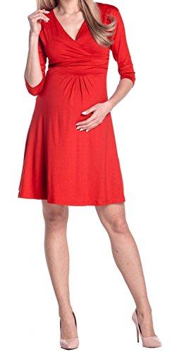 Happy Mama Damen Umstandskleid Festlicher Stretchkleid V-Ausschnitt 282p Rot