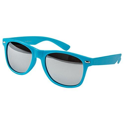 Ciffre Sonnenbrille Nerdbrille Nerd Retro Look Brille Pilotenbrille Vintage Look - ca. 80 verschiedene Modelle Viele Farben (Silber-Verspiegelt-Türkis)