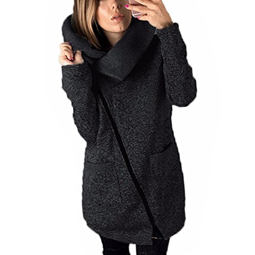 Xinan Damen Strickjacke Herbst Winter Hooded Coat Long Zipper Pullover Outwear Mantel (S, Dunkelgrau)