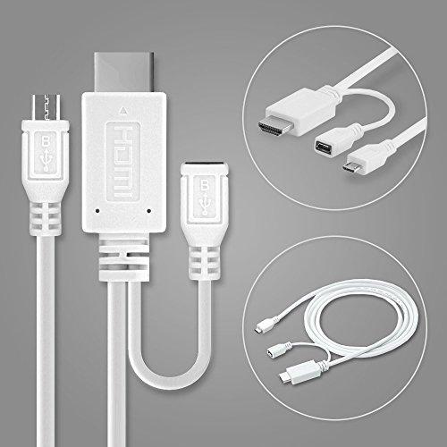 Cavo MHL adattatore, adattatore da micro USB 5-pin a HDMI ad HTC One M9 / One X / Sony Xperia Z1 / Z2 / Z3 / Z5, etc - 1,5m connetore es per immagini HD / transmissione audio