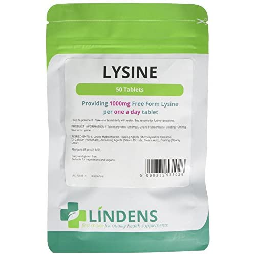 41LfyGsFpXL. SS500  - Lindens Lysine 1000mg Tablets | 50 Pack | Each Tablet Yields 1000mg Free-Form Lysine in A Convenient One-a-Day Tablet