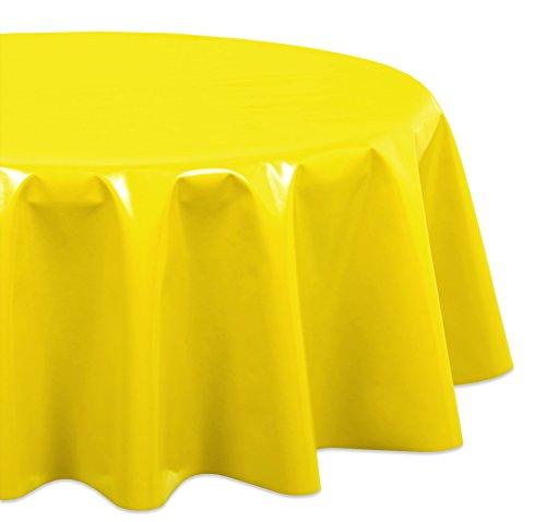 (WACHSTUCH Tischdecken Gartentischdecke abwischbar Glatt, Rund Oval, Motiv Farbe und Größe wählbar (Oval 140x200 Marmor Gelb))
