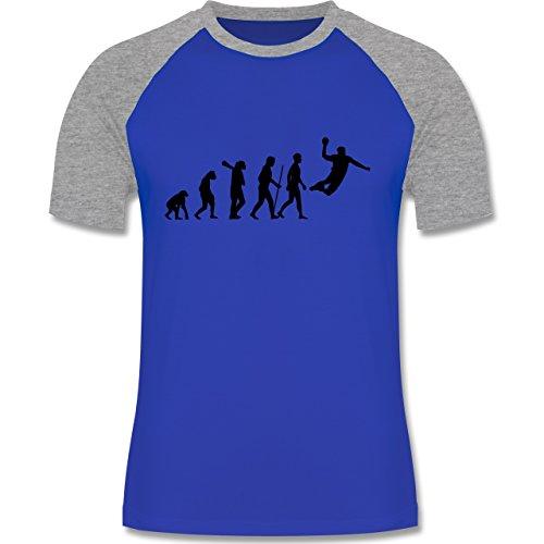 Evolution - Handball Evolution - zweifarbiges Baseballshirt für Männer Royalblau/Grau meliert