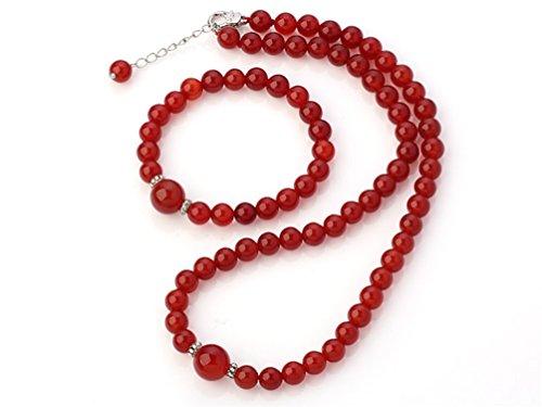 treasurebay 8-12mm Natur Rot Achat Edelstein Perlen Halskette und Armband Schmuck-Set