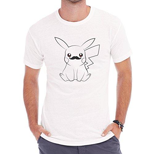 Pokemon Black White Pikachu Electro Mustache Herren T-Shirt Weiß