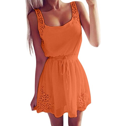 Damen Sommerkleider Frauen Spitzenkleid Dress Langarm Swing Kleider A Line Vintage Skaterkleid Partykleid Cocktailkleid Lace Backlos Abend Party Mini Kleid Rockabilly Kleid (L, Sexy orange)