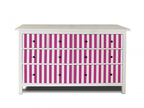 5. Yourdea Möbel Folie Für IKEA HEMNES Kommode 8 Schubladen /  Möbel Aufkleber Zum Selbst Gestalten / Klebe Sticker Mit Motiv Streifen Pink