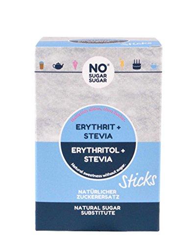 NoSugarSugar Erythrit+Stevia Sticks (50 x 4g Sticks = 200g) Zuckerersatz kalorienfrei, 3er Pack (3 x 200 g)
