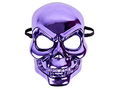 Totenkopf Maske Metallic Look lila | Halloween Maske, deckt das ganze Gesicht ab | Böser Blick, schwarzes, elastisches Band | (Lila Masken)