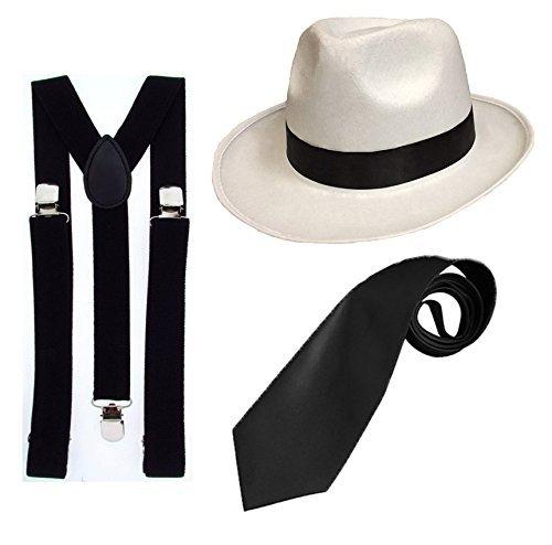 Gangster Fancy Kleid Set–Trilby Hut + schwarz Straps Hosenträger + Black Tie Deluxe 1920er