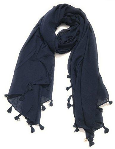sciarpa-donna-pashmina-trussardi-jeans-viscosa-cotone-blu-scuro-con-nappe-am17tj27