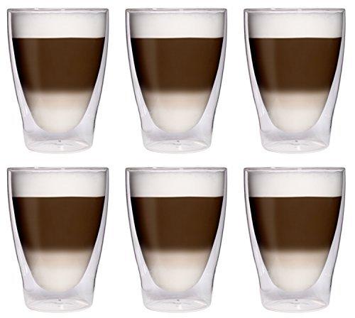 6x 280ml XL doppelwandige Latte Macchiato-Gläser / Cocktailgläser / Eistee-Gläser / Saft- und Wassergläser - 6x 280ml edle Thermogläser mit Schwebeeffekt von Feelino, 6x 280ml