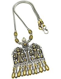 High Trendz Oxidised Gold Silver Dual Tone German Silver Gypsy Style Statement Pendant Necklace Jewellery For... - B0773MGXKQ