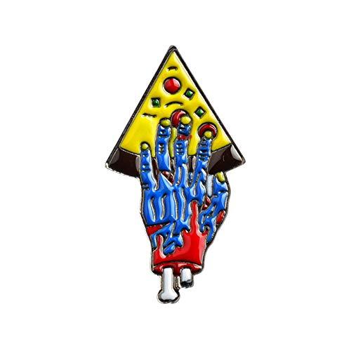 JTXZD Brosche Eine Scheibe Zombie Hände Pizza Pin Brosche Pizza Party Denim Jeans Dornschließe Hemd Abzeichen Freundschaft für Freunde