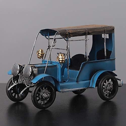 Yolmook Vintage Old Tin Classic Auto Home Decor Eisen Metall Handwerk Handwerk zum Sammeln Geschenk, blau, 20 x 13 x 9cm - 14' Vinyl