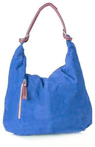 Big Handbag Shop - Borsa a spalla da donna, grande, in vera pelle scamosciata italiana Electric Blue (NL370)