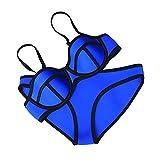 Gloria JR Bunte Solid Color Conjun Frauen Neopren Bikini Set Bademode Badeanzug (S(US0-2), Blau(Blue))