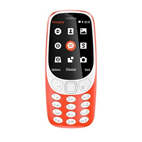 Nokia 3310 - Móvil Libre (Pantalla de 2.4', batería en Stand-by hasta 1 Mes, cámara 2MP con Flash LED), Color Rojo