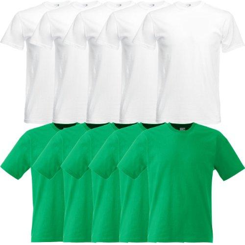 Fruit of the Loom Original Full-Cut T Rundhals T-Shirt F110 5er 10er 15er 20erPack 5x white 5x kelly green