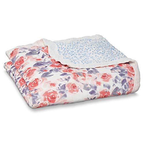 aden + anais couverture de rêve silky soft, 100% viscose de bambou, 120cm x 120cm, watercolour garden - roses