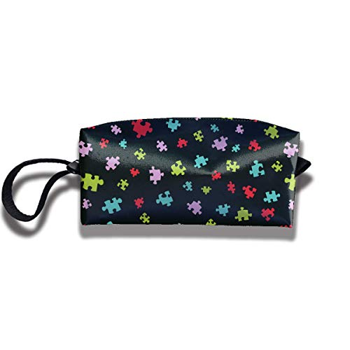 Colorful Puzzle Pieces Print Classic Cosmetic Pouch Bag Interesting Jewelry Pouch Travel Storage Package Pouch with Zipper