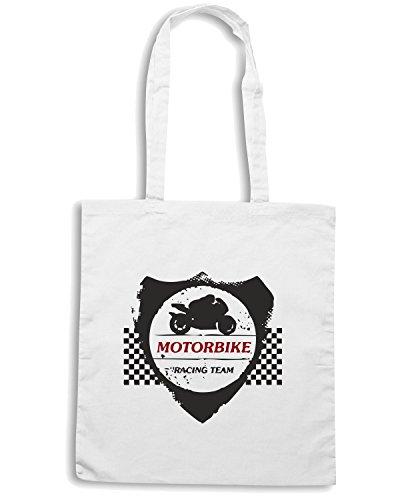 T-Shirtshock - Borsa Shopping TB0331 motorbike grunge shield with bike and rider Bianco