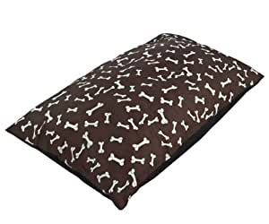 "Miss Daisys, Chocolate Brown White Bone Print Pet Bed Quality Material Cotton, Extra Large 57x38"" 145x97cm Dog Cat"